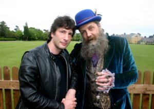 Neil Gaiman (left) and Alan Moore (right) at Moore's wedding.