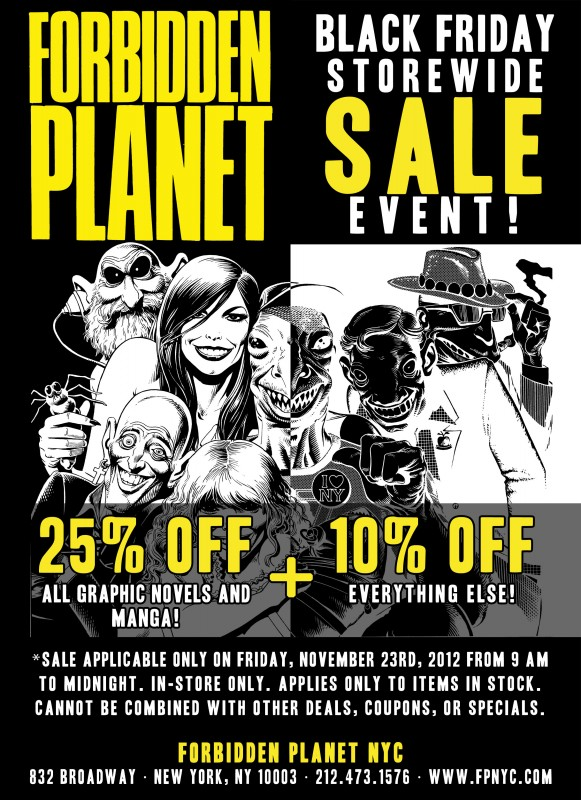 25% off graphic novels and manga, 10% off everything else!