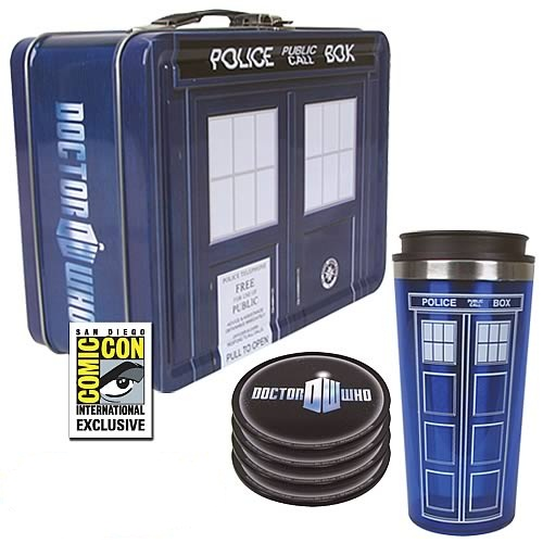 Doctor Who SDCC Tardis tin tote gift set Biff Pow