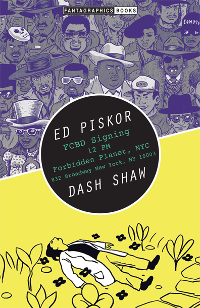 Forbidden Planet NYC FCBD signing with Ed Piskor and Dash Shaw Hip Hiop Family Tree Cosplayers