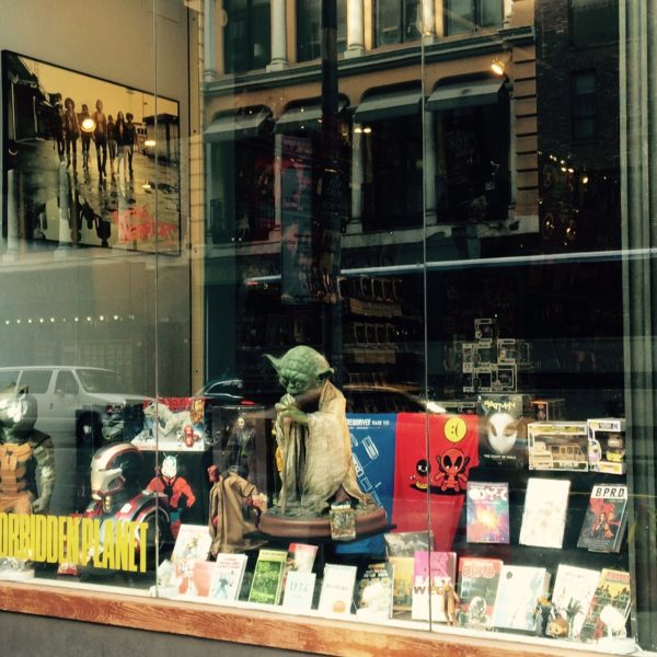 FPNYC Forbidden Planet Comics Yoda The Warriors Window Display