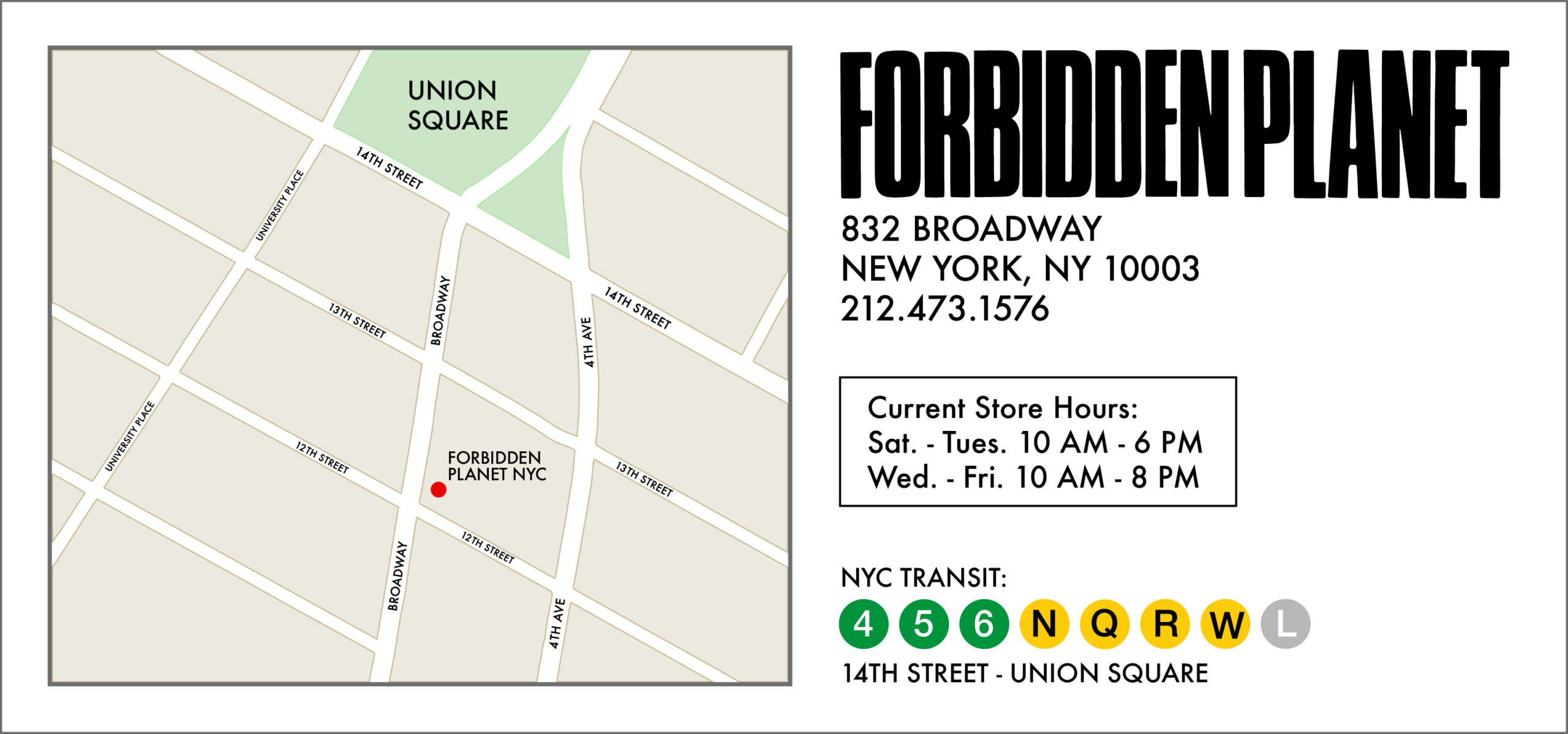 Forbidden Planet NYC Map Location and Current Store Hours